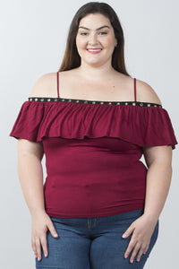 Ladies fashion plus size grommet-detail trim cold shoulder top