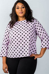 Ladies fashion plus size roll-up sleeve polka dot print top