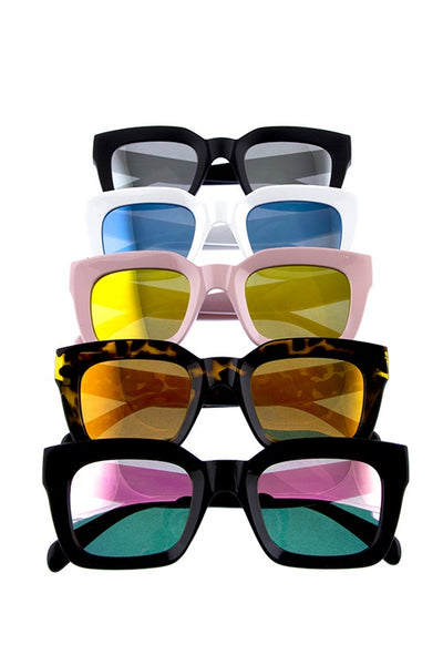 Womens square shaped plastic modern fashion sunglasses