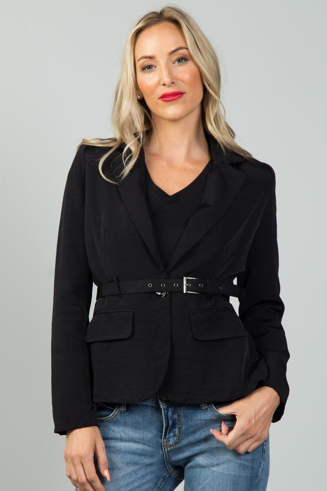 Ladies fashion  black belted blazer