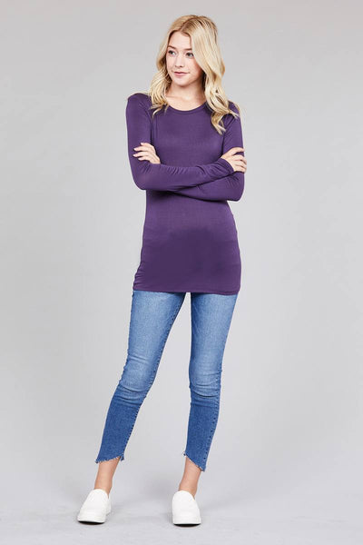 Ladies fashion long sleeve crew neck top rayon spandex jersey top