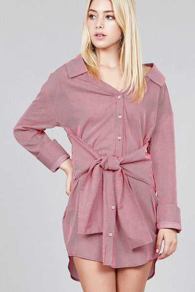 Ladies fashion long sleeve w/wide cuff waist self tie stripe shirt dress