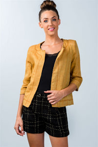 Ladies fashion mustard 3/4 sleeve open-front jacket