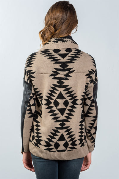 Ladies fashion tribal print vegan leather sleeves cardigan