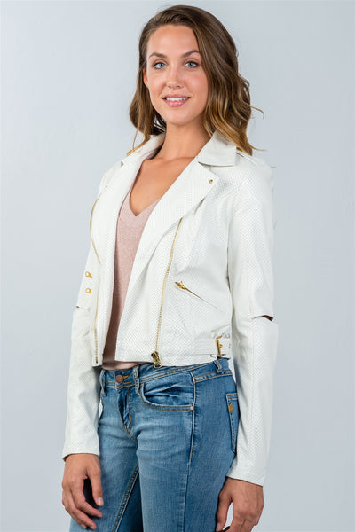 Ladies fashion white perforated elbow cut-out moto jacket
