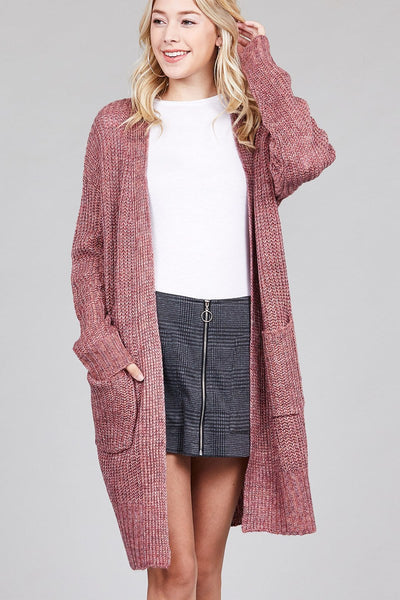 Ladies fashion dolmen sleeve open front w/patch pocket marled sweater cardigan