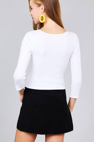Ladies fashion 3/4 sleeve boat neck rib cotton spandex knit crop top