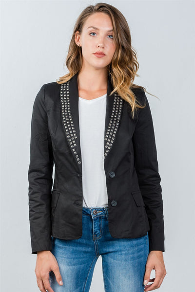 Ladies fashion black studded single-button blazer