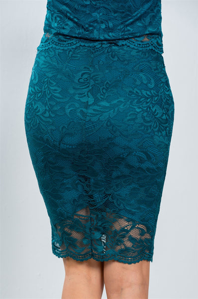Ladies fashion teal floral lace top and mini skirt set