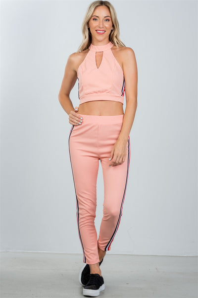 Ladies fashion crop top and matching pants with side contrast stripe