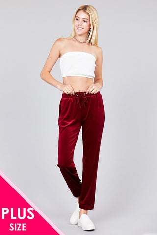 Ladies fashion plus size waist drawstring velvet jogger pants