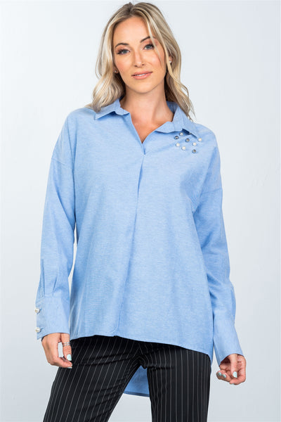 Denim blue faux pearl hi-low hem shirt