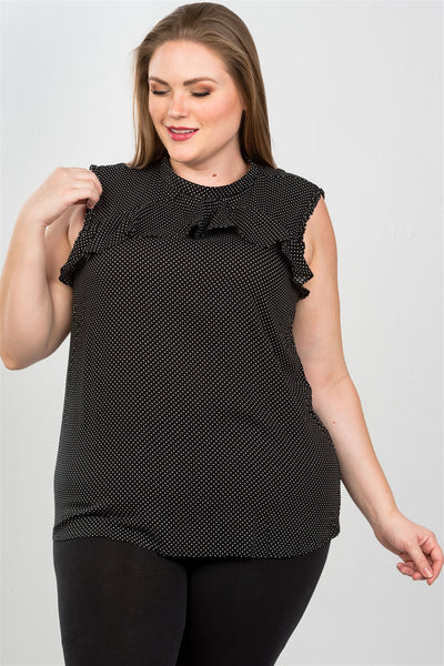 Ladies fashion plus size ruffle polka dot bow back top