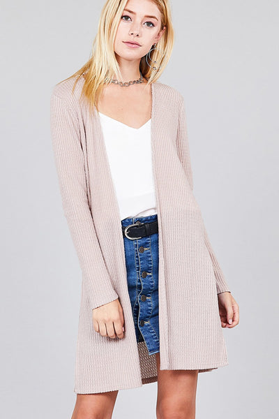 Ladies fashion long sleeve open front side slit tunic length brushed waffle cardigan