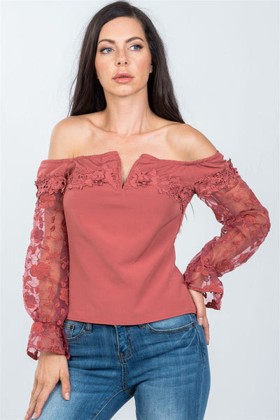 Ladies fashion v-wire off the shoulder floral applique top