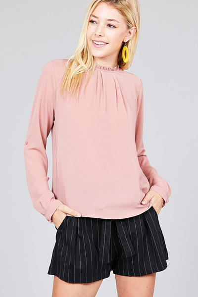 Ladies fashion 3/4 roll up sleeve crew neck w/ruffle woven top