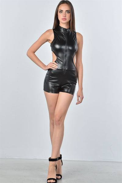Ladies fashion black open back high collar romper