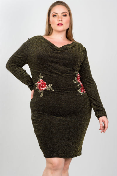 Ladies fashion plus size sexy black and gold metallic draped neck midi dress