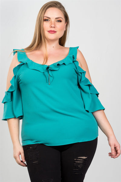 Ladies fashion plus size cold shoulder ruffle zipper o-ring top