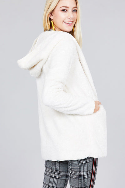 Ladies fashion plus size long sleeve open front w/hoodie faux fur fluffy jacket