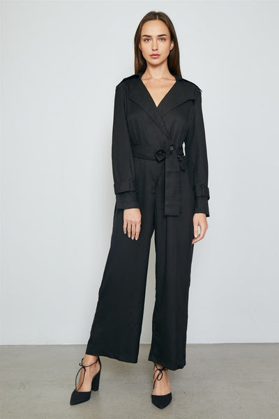 Ladies fashion long sleeve wide leg belted jumpsuit