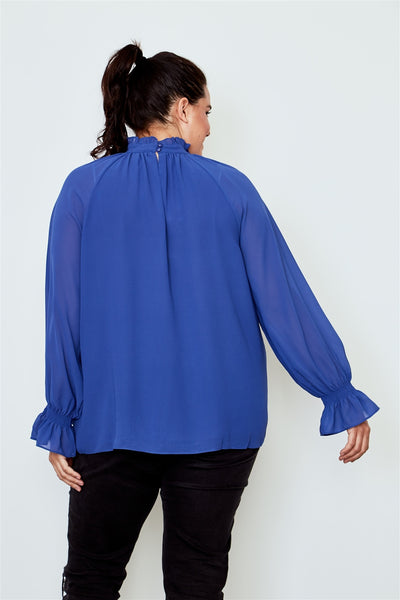 Plus size high neck ruffle long sleeve top