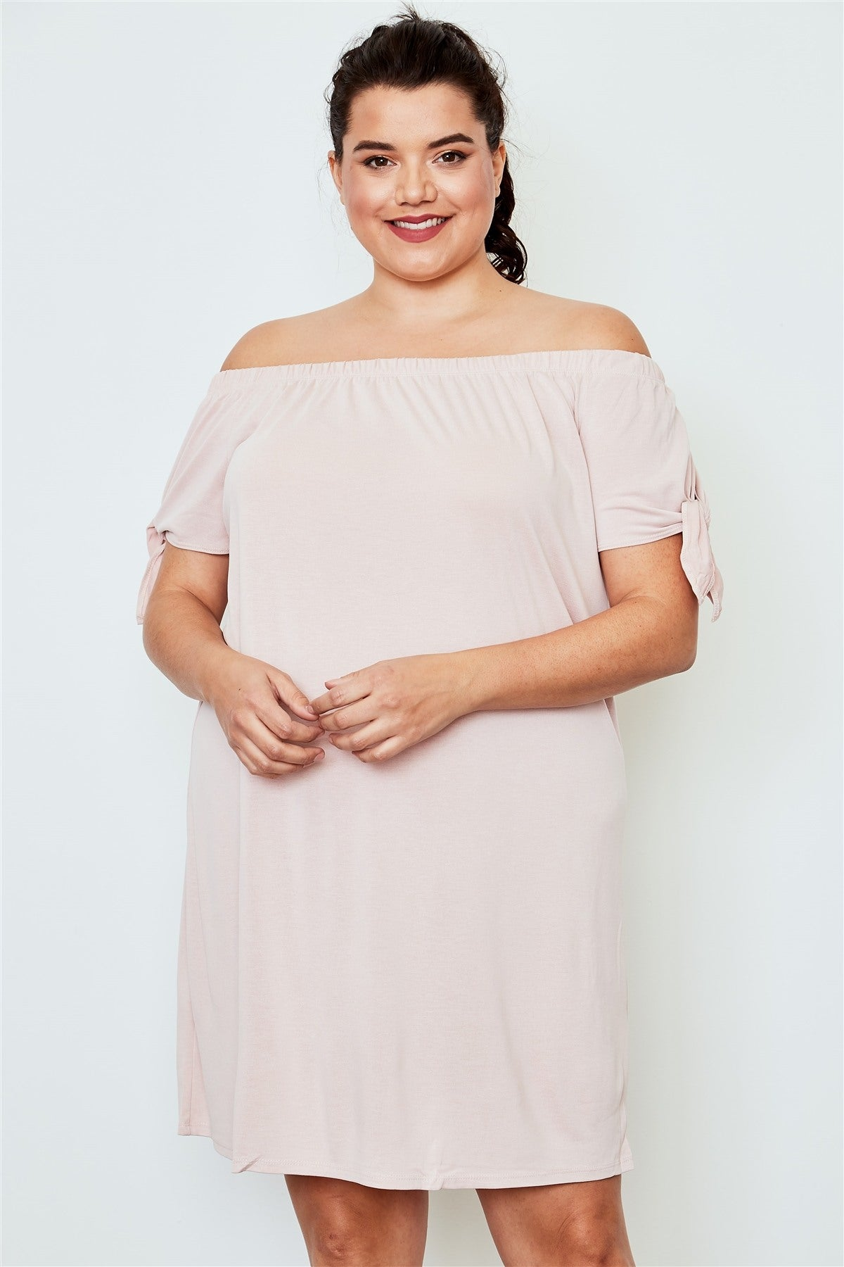 Plus size peach off the shoulder tie sleeves mini dress