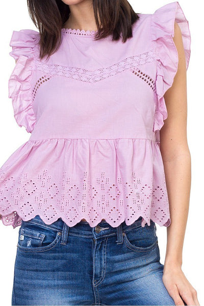 Sleeveless ruffle trim eyelet top