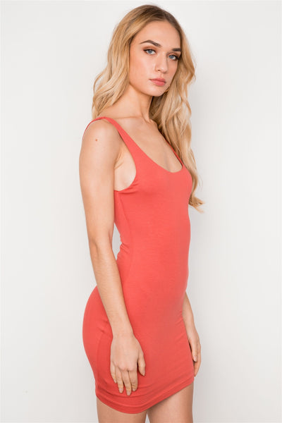 Rust Sleeveless Tank Mini Basic Dress