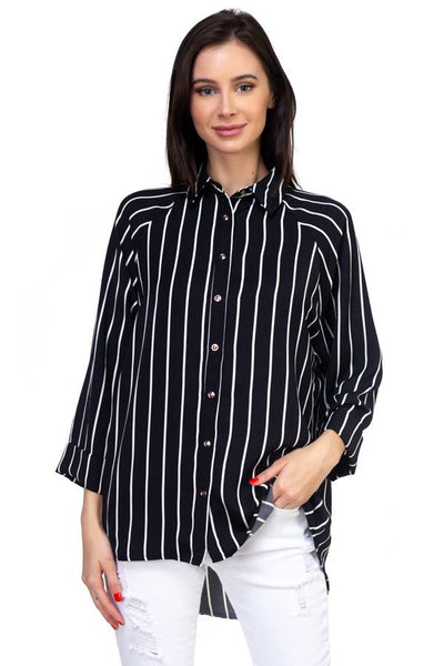 Stripe Snap Button Down Shirt