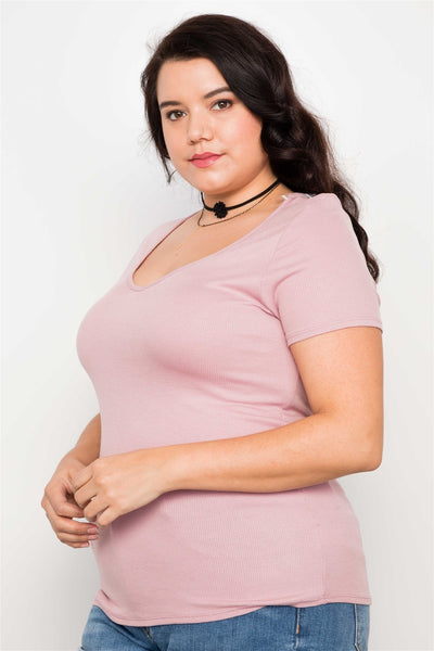 Plus Size Blush Cut Out Short Sleeve Knit Top