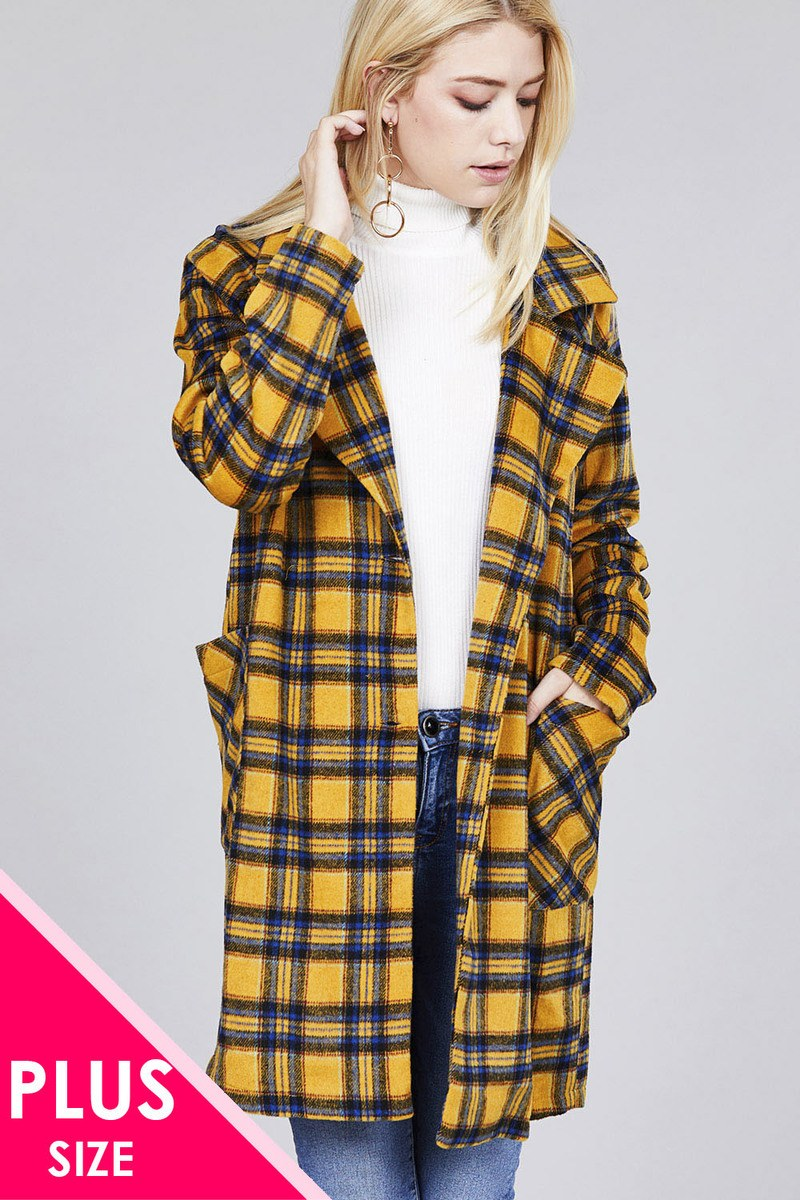 Long Sleeve Notched Lapel W/pocket Heavy Plaid Long Jacket