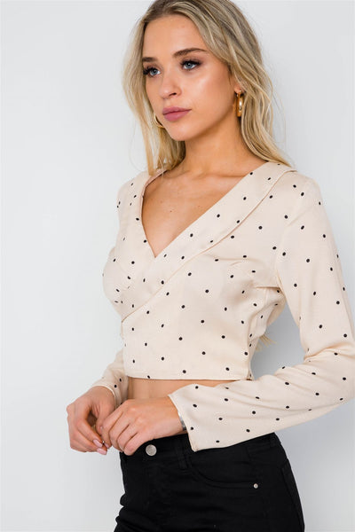 Polka Dot Long Sleeve Cropped Top