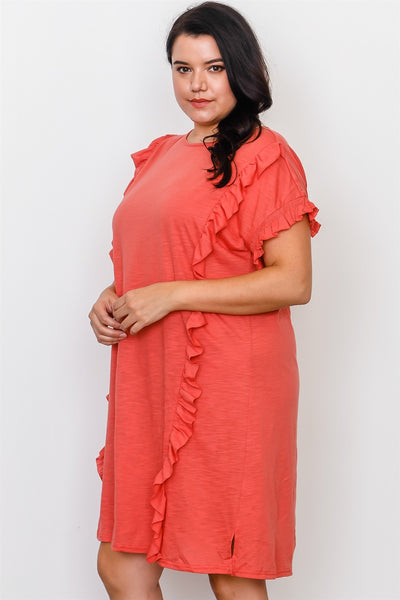 Plus Size Ruffle Front Midi Dress
