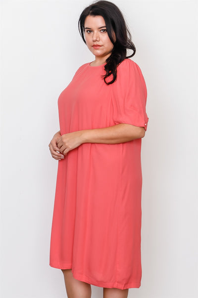 Plus Size Coral Contemporary Midi Dress