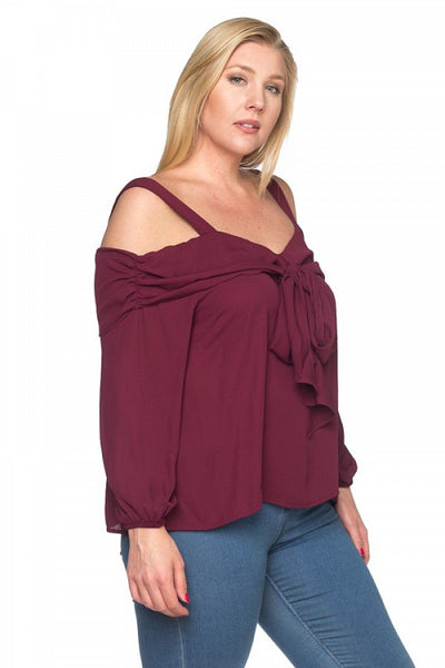 Front Bow Cold Shoulder Shirts