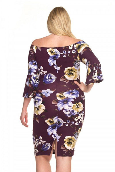Off Shoulder Bell Sleeve Floral Dress