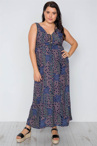 Plus Size Multi Navy Sleeveless Lace Up Maxi Boho Dress
