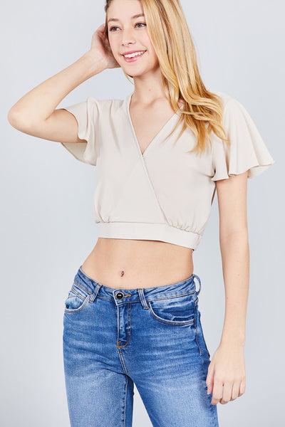Short Sleeve V-neck W/surplice Tie Detail Woven Top