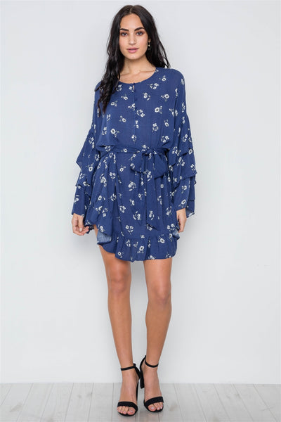 Floral Print Long Bell Sleeves Dress