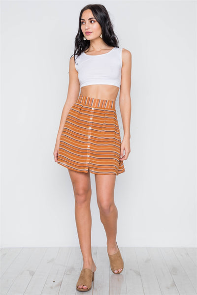 Stripe Button Down High Waist Retro Mini Skirt