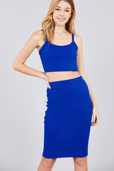Crop Tank Top And Pencil Skirt Rayon Spandex Set