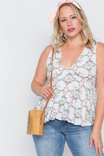 Plus Size Off White Floral Print Lace Up Top