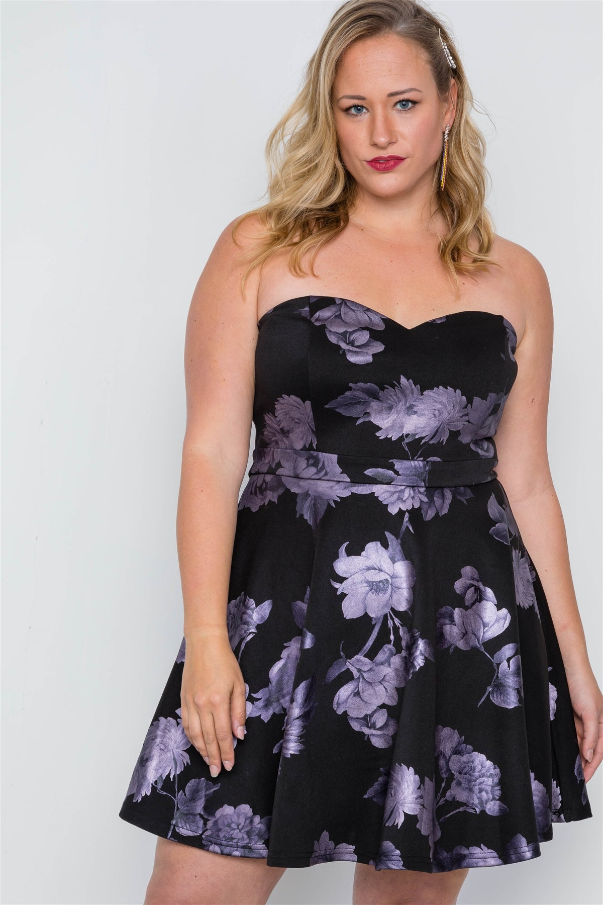 Plus Size Black Fit & Flare Floral Mini Dress