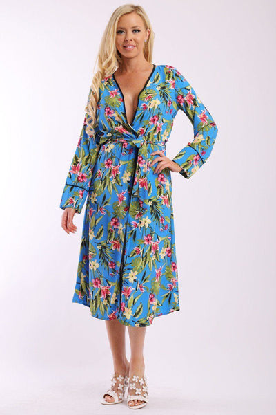 Floral Print Cardigan With Long Sleeves, Open Front, Matching Belt And Contrast Trim