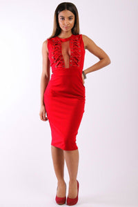 Solid, Sleeveless Midi Dress With Round Neck, Front Mesh Panel, Decorative Lace Up Design And A Back Zipper