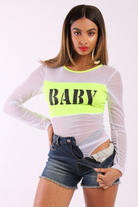 Solid Mesh Bodysuit With Long Sleeves, Contrast Trim And Front Baby Print