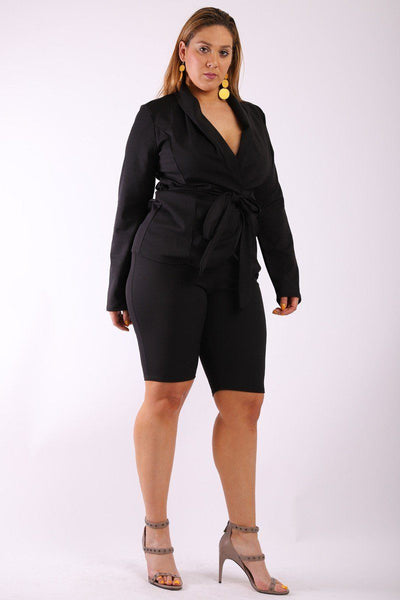 Solid, 2 Pieces Set Included Long Sleeves Jacket With Open Front, Matching Belt And Fitted Capri Shorts