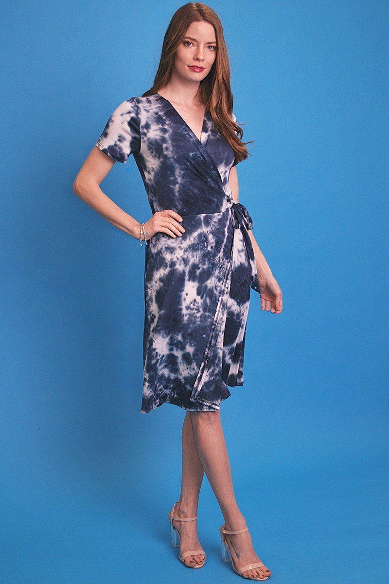 Tie-dye Print, Midi, A-line Dress In A Relaxed Fit With A V-neck, Wrapped Style, Side Waist Tie, And Short Sleeves