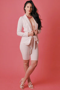 Polka Dot Print, 2 Pieces Set Included Long Sleeves Jacket With Open Front, Matching Belt And Fitted Capri Short